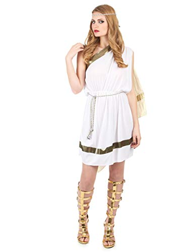 Generique - Elegantes Römerinnen-Kostüm für Damen Weiss-goldfarben L