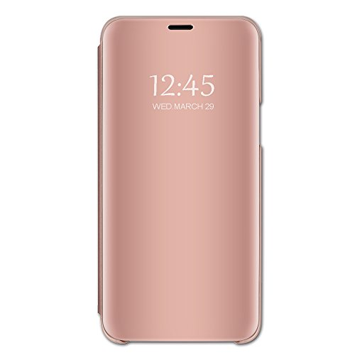 Croazhi Kompatibel mit iPhone 11 Pro Max 6.5'' hülle, Spiegel Schutzhülle Flip Handy Case Tasche mit Standfunktion Business Serie Hart Case Cover für iPhone 11 Pro Max 6.5'' (Rosé Gold)