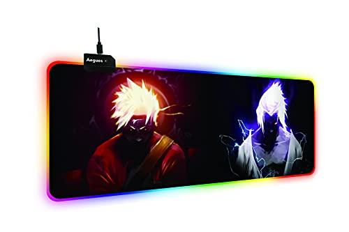 Naruto Anime LED Mouse Pad,rgb mousepad anime,XXL Tastatur pad, leuchtendes Professionelle Gamer Mauspad für 400 * 900 * 4mm