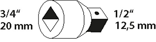 GEDORE Reduzierstück, 3/4 Zoll auf 1/2 Zoll, Für handbetätigte Steckschlüsseleinsätze mit Vierkantantrieb, Stiftsicherung, Vanadium-Stahl 31CrV3