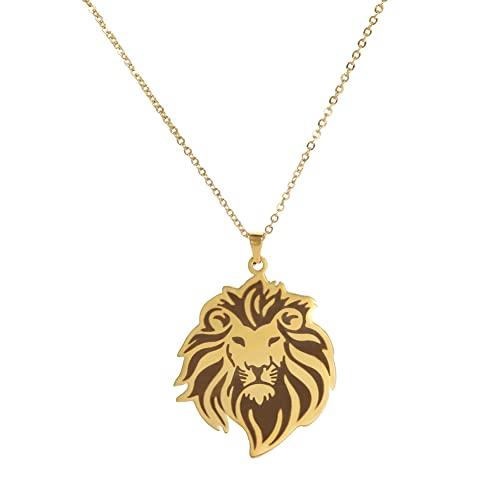 KKJOY Collar colgante de cabeza de león de acero inoxidable para regalo de cumpleaños de mujeres y hombres, Large, Acero inoxidable,