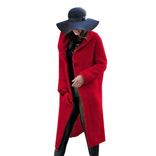 Primavera E Autunno Moda Casual da Donna Semplice Maglione di Media Lunghezza Top Manica Lunga Cardigan con Cappuccio Maglieria da Donna