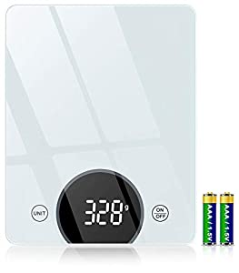 Cocoda Báscula Cocina Digital, 10KG / 22lbs Bascula de Cocina con Alta Precisión, Pantalla LED & Vidrio Templado, Función Tara, 4 Unidades Peso Cocina (Gramos y Onzas) para Cocinar, Baterías Incluida