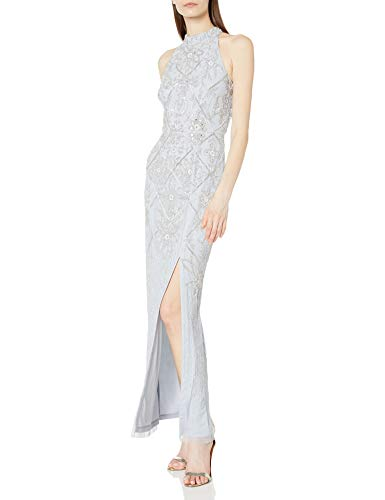 Adrianna Papell Women's Beaded Column Gown, GLACIER, 6