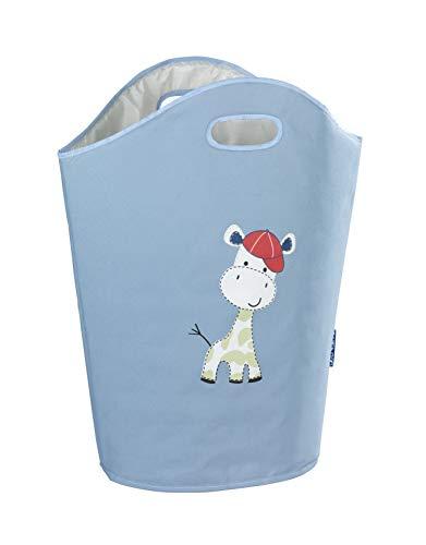 Wenko Wäschesammler Kids Gerry Blau niedlicher Wäschesack mit zwei praktischen Tragegriffen mit Giraffen Aufdruck, 24 l Stauraum in einem Fach, (B x H x T): 40 x 52 x 20 cm, kindliches Motiv