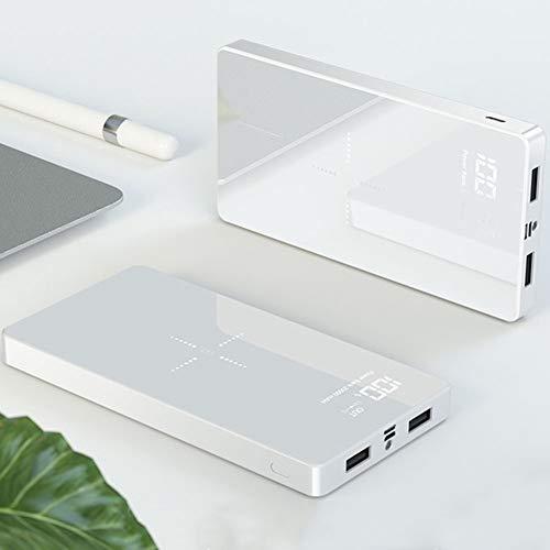 DWGYQ 20000 mAh Banco de energía Cargador portatil Paquete de baterías externas de Alta Capacidad con Pantalla LED y Carga rápida inalámbrica iPhone Compatible con Android Tipo c,Blanco