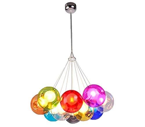 Candelabro Péndulo Candelabro Lámpara colgante Lámpara colgante Lámpara de bola de burbujas de colores Lámpara de comedor de vidrio para lámparas de llamas múltiples Vidrieras de altura ajustable 100
