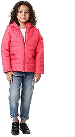 Andora Cotton Welt Pockets Quilted Zip-Up Hooded Jacket for Kids - Watermelon Red, 8 Years