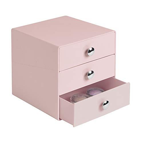iDesign Make-Up Organizer mit 3 Schubladen, quadratische Schubladenbox aus Kunststoff, kompakter Schubladenturm für Schminke und Kosmetika, rosa