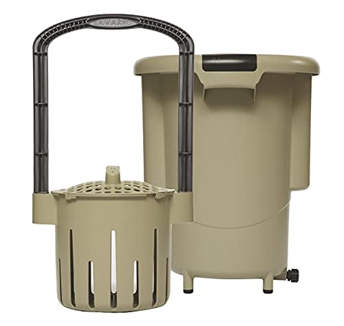 Lavario Portable Clothes Washer (Manual Non-Electric Portable Washing Machine for Camping, Apartments, RV's, Delicates) (Tan & Black) (Made in the USA)