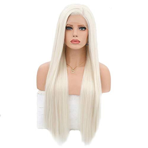 ZJJGRASS Lace Front Perruque Perruques synthétiques Longues Lignes Droites pour Femme Blond Platine 26 Pouces Aspect Naturel Longue Silky Cheveux raides
