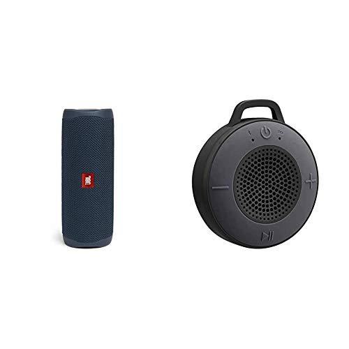 JBL Flip 5 Bluetooth Box in Blau – Wasserdichter, portabler Lautsprecher mit umwerfendem Sound & Amazon Basics Kabelloser Dusch-Lautsprecher mit 5-W-Treiber, Saugnapf, eingebautem Mikrofon, Schwarz