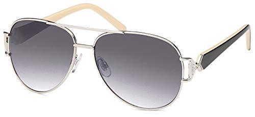 Balinco 17 modelos mujeres Aviadores gafas de sol de aviador gafas de sol 70s (Negro-Gris Historia)