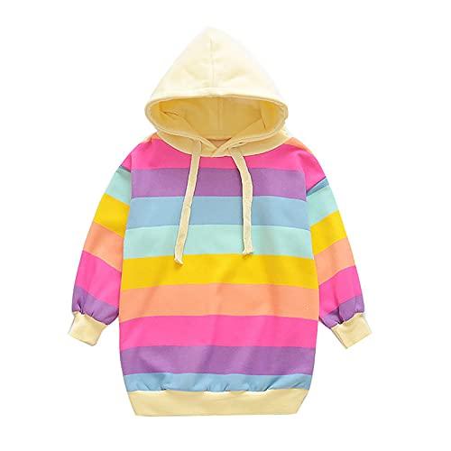 dPois Kids Girls Rainbow Hoodies Sweatshirt Dress Casual Clothes Long Sleeves Outwear Coat Spring Fall Clothing Tops Rainbow 5-6 Years
