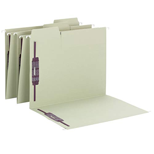 Smead FasTab Hanging Fastener File Folder with SafeSHIELD Fasteners, 1/3-Cut Built-in Tab, Letter Size, Moss, 18 per Box (65120)