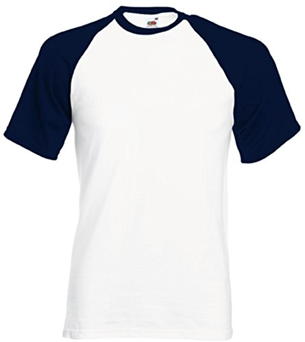 Fruit of the Loom Shortsleeve Baseball T-Shirt WeissDeepNavy XL