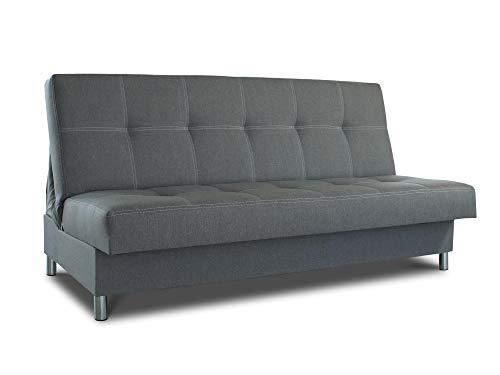 Schlafsofa Bella mit Schlaffunktion - 3 Sitzer Sofa, Couch mit Bettkasten, Bettsofa, Schlafsofa, Polstersofa, Couchgarnitur (Graphit (Inari 94))