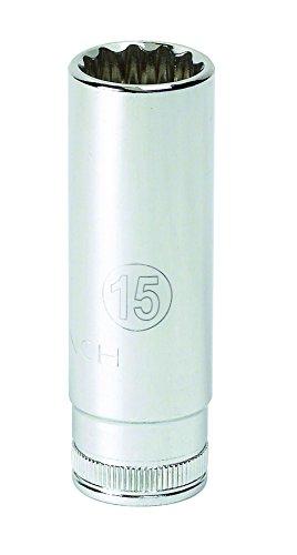 GEARWRENCH 1/4' Drive 6 Pt. Deep Socket, 15mm - 80150