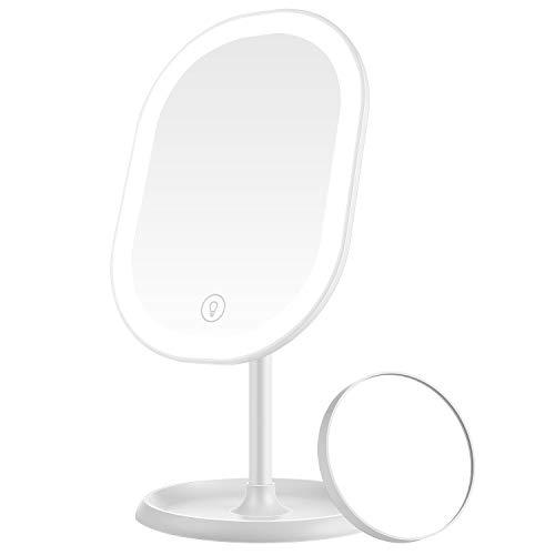 Aidodo Schminkspiegel, Tischspiegel Rasierspiegel Schminkspiegel Beleuchtet mit Dimmbarer Helligkeit LED Licht, Mit 5X Vergrößern Spiegel, 180° Faltbarer Tischspiegel, Perfektes Geschenk für Freund