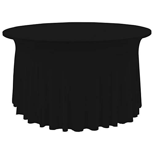 Geniet van winkelen met 2 st Tafelhoezen stretch met rok stretch 120x74 cm zwart