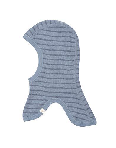 Dilling Schlupfmütze für Babys und Kinder aus 100% Bio-Merinowolle Blau gestreift 98-128