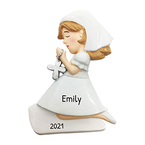 Personalized First Communion Confirmation Girl Christmas Tree Ornament 2020 - Prayer Man Grand-Daughter Milestone 1st Holy Church Ceremony Tradition Eucharist Act Rite Passage - Free Customization