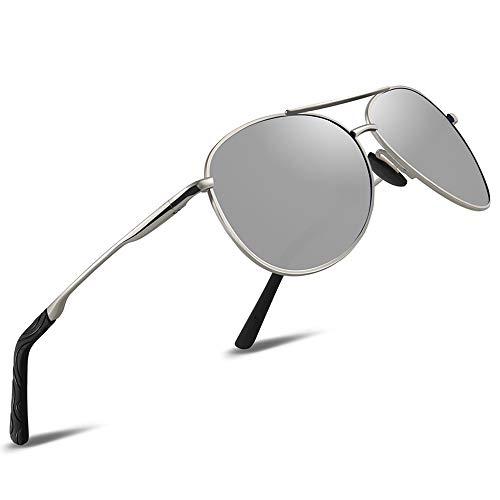 Gafas de sol polarizadas aviador para hombre - Gafas de sol polarizadas FEIDU para hombre FD9002, Plateado (Plateado (Silver-1)), X-Large