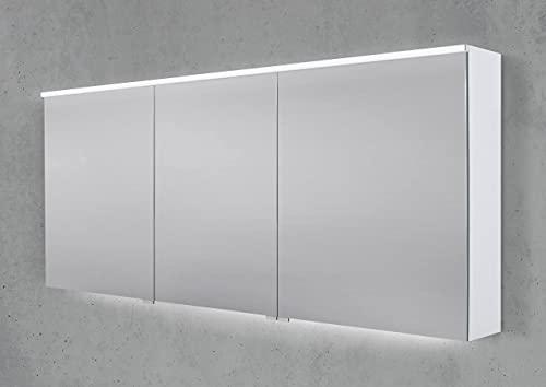 Intarbad ~ Spiegelschrank 170 cm integrierte LED Beleuchtung Doppelspiegeltüren Weiß Matt IB1987