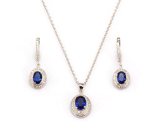 Plata de ley chapado en platino con creado Sapphire y juego de Neckace y pendientes de diamante