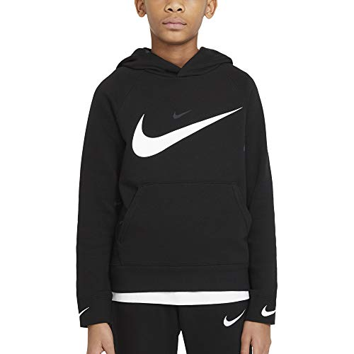 NIKE B NSW FLC Swoosh Hooded PO Sweatshirt, Black/(White), M Boys