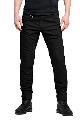 Pando Moto Mark Black Men's Motorcycle Jeans with Cordura and Kevlar Lining CE Approved Chino style Motorbike Trousers