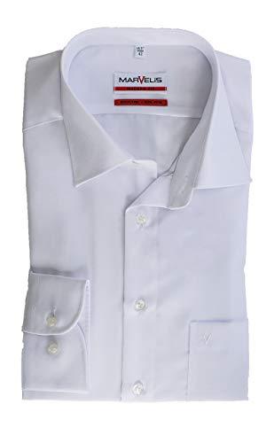 Marvelis Hemd, Weiß, Modern Fit, Bügelfrei, Knitterfrei, 100% Baumwolle, New Kent Kragen (39)