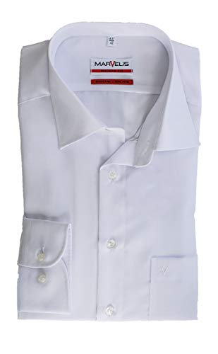 Marvelis Hemd, Weiß, Modern Fit, Bügelfrei, Knitterfrei, 100% Baumwolle, New Kent Kragen (43)