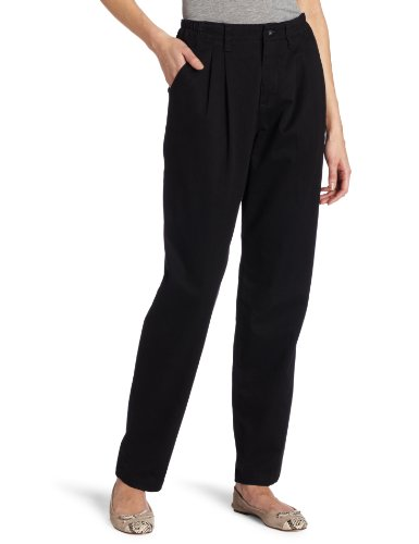 Lee Women's Relaxed Fit Side Elastic Pleated Pant, Black, 14 Medium