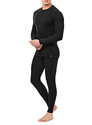 DAVID ARCHY Men's Ultra Soft Winter Warm Base Layer Top & Bottom Fleece Lined Thermal Set Long John (XL, Black)