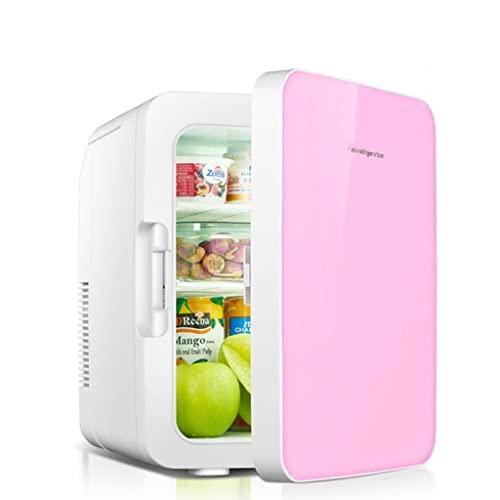 huasa Mini Refrigerador Portátil 10L / 12 Latas de Refrescos, Mini Nevera AC/DC(110-220V/12V) Termoeléctrica para Enfriar y Calentar,2 en 1 Pequeña Refrigerador para Hogar, Oficio y Coche,Pink