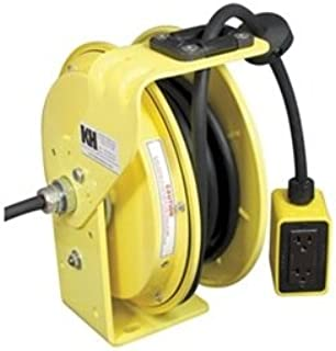 KH Industries RTB Series ReelTuff Industrial Grade Retractable Power Cord Reel with Black Cable, 12/3 SJOW Cable Prewired with Four Receptacle Outlet Box, 20 Amp, 50' Length, Yellow Powder Coat Finish
