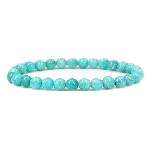 Natural Brazilian Amazonite Gemstone 6mm Round Beads Stretch Bracelet 7' Unisex