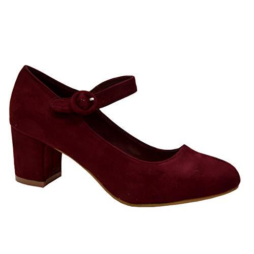 Zapatos de tacón de bloque Mary Jane para mujer, con hebilla, informales, cómodos, talla Reino Unido, color burdeos.