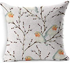45x45cm Beige Garden Botanical Pattern Willow Branches Birds Bud Robin Vintage Blue Branch Rustic Provence Floral Goat Cotton Linen Cushion Covers 45cm x 45 cm for Living Room Christmas Pillow Cases