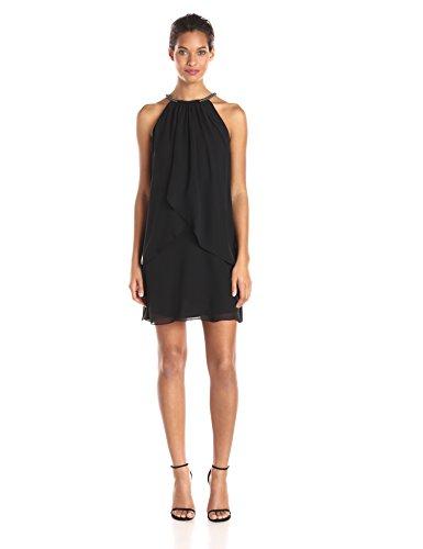 S.L. Fashions Women's Solid Chiffon Halter Dress (Petite and Regular), Black, 6