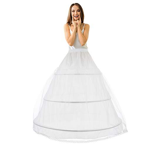 Reifrock Brautkleid Petticoat Unterrock, Tüll Reifrock Krinoline - 3 Ring verstellbar Underskirt Damen lang Unterröcke für Hochzeitskleider Ballkleider Abendkleider Brautkleider Promkleider (Weiß)