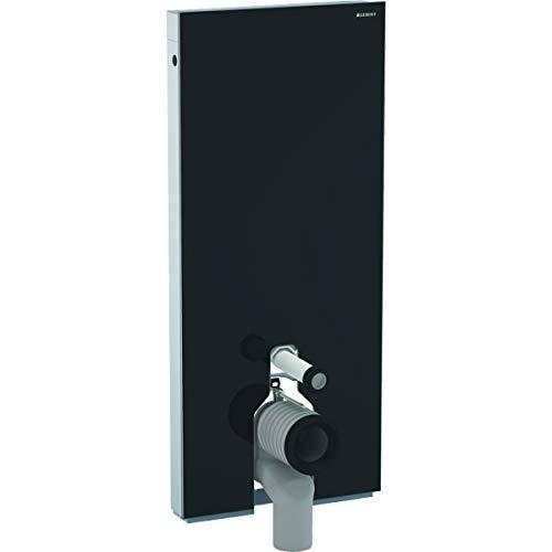 Geberit 131.033.SJ.5 Sanitärmodul Monolith für Stand-WC, 114 cm, mit P-Anschlussbogen, Farbe schwarz-131.033, Glas schwarz