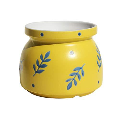 Larew Macetas de cerámica pintadas a mano de baldosa, maceteros verdes, jardinería, decoración del hogar, 8,5 x 8 cm, color: amarillo
