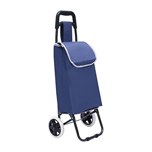 WANGYIYI Carritos de Compra Plegables con Ruedas Carrito de Compras portátil Carro de Equipaje de Comprador de Gran Capacidad Impermeable 23L Inicio Bolsas de Compras (Color : Blue)