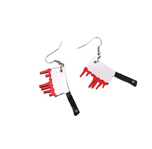 LKJHG Damen Ohrringe, Vintage Rot Küchenmesser Acryl Halloween Interessante Party Charme Dangle Anhänger Ring Ohrringe Für Frauen Männer Damen Mädchen Geschenke