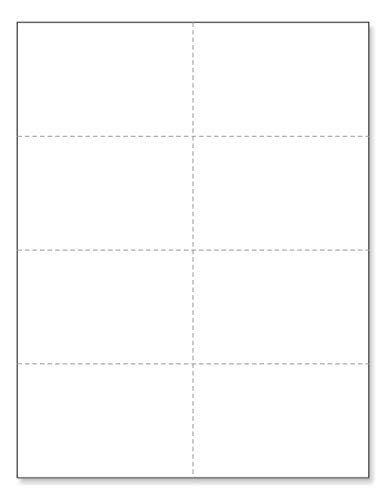 """8-1/2"""" x 11"""" Laser Printer/Ink Jet Blank Perforated Cards 8 up per Page - 4-1/4"""" x 2-3/4"""" Each Card (800 Cards - 125# Tag)"""