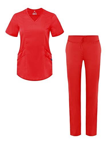 Adar Pro Uniforme médico para Mujer Casaca con Cuello en V y Pantalones de Yoga - P9100 - Apple - XXS