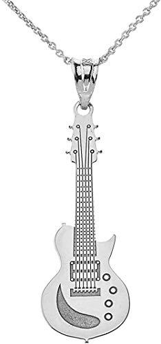 Dijes de guitarra Collar de guitarra eléctrica con instrumento musical personalizado de plata esterlina con tu nombre