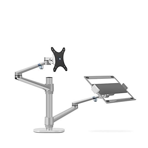 Aluminum Height Adjustable Desktop Dual Arm 17-32 inch Monitor Holder+12-17 inch Laptop Holder Stand OL-3L Full Motion Mount Arm, A